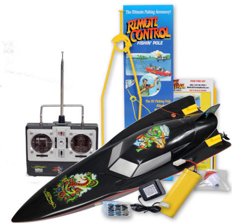 Ed hardy remote control fishing boat catch 39 s real fish for Fish catching rc boat