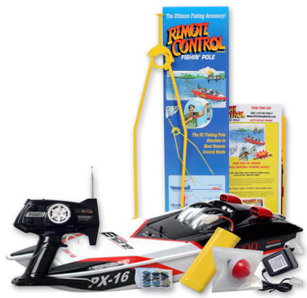 The LuckyStrike Rc Fishing Boat includes, Transmitter, Batteries, Charger, Bobber, fishing hook, and line. Ready for Radio Control Fishing Adventure!