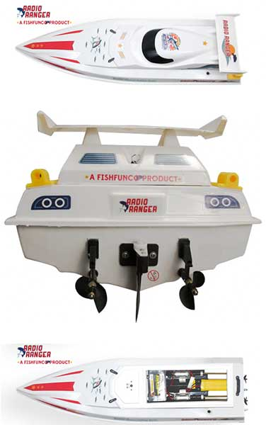 Top and rear views of the Radio Ranger Rc Fishing Boat