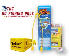 The Rc Fishing Pole with the Bait Bucket option available